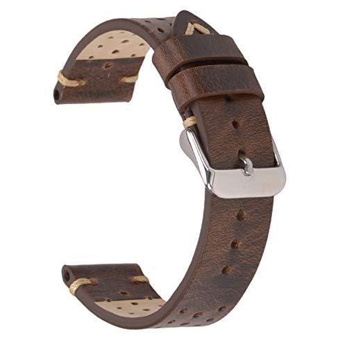 Correas de Reloj de Cuero de 20 mm, Correas de Reloj Perforadas EACHE Bandas de Reloj Perforadas Hechas a Mano Retro Marrón
