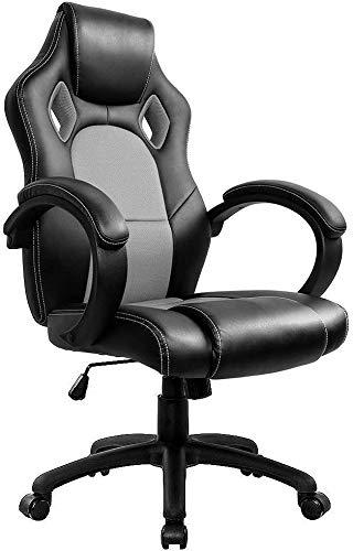 Íntima WM Gris del corazón for Juegos de PC Silla de Escritorio, sillas de Oficina Ordenador Gamer giratoria Recling con Armas for Adultos y niños FEOPW (Color : Grey)