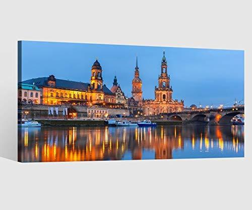 Leinwandbild Leinwand Skyline Dresden Stadt Wasser Fluss Bild Bilder Wandbild Holz Leinwandbilder Kunstdruck vom Hersteller 9AB645, Leinwand Größe 1:80x40cm