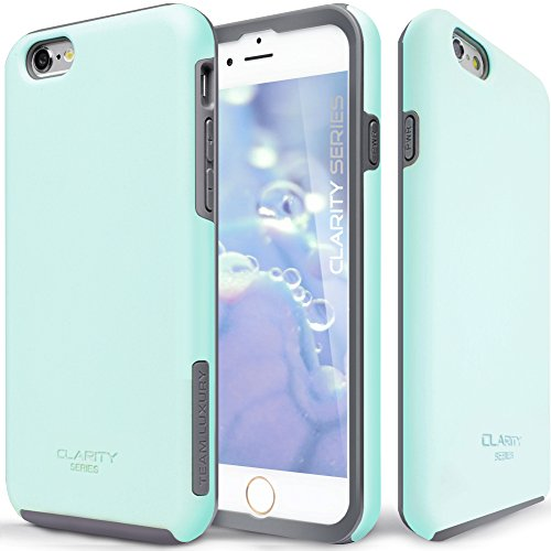 TEAM LUXURY [Clarity Series] Case for iPhone 6 & 6s, Ultra Defender Shock Absorbent Slim-fit Premium Protective Phone Case - Soft Mint/Gray