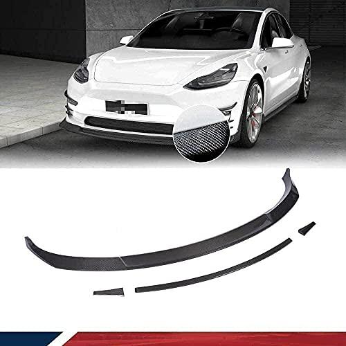 XDHN Alerón de Barbilla de Fibra de Carbono se Adapta a Tesla Model 3 Sedan 2017 2018 2019 Parachoques Delantero alerón de Labios Divisor de Barbilla