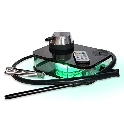 Moderne Acryl Huka Komplette Kit Portable Shisha Nargile Rauchen Wasserpfeife Mit Fernbedienung Led-licht-box (schwarz) Startseite Praktische Werkzeuge