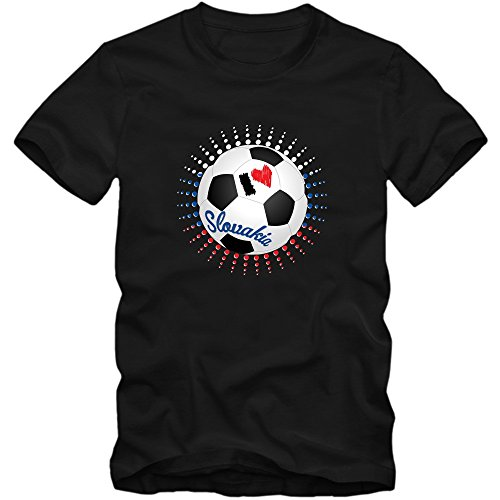 Slowakei WM 2018#6 T-Shirt | Fußball | Herren | Trikot | Repre | Nationalmannschaft, Farbe:Schwarz (Deep Black L190);Größe:XXL