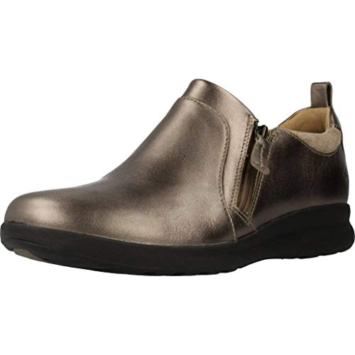 Clarks Un Adorn Zip, Mocasines, Beige (Pebble Metalic Pebble Metalic), 41 EU