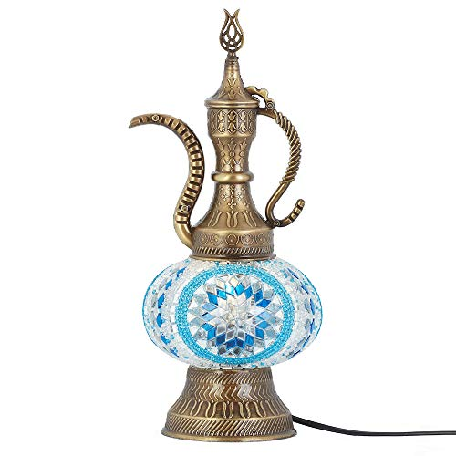 DEMMEX 2019 Turkish Moroccan Mosaic Table Lamp with US Plug & Socket, Handmade Desk Bedside Table Night Lamp, Decorative Tiffany Lamp Light, Multicolor