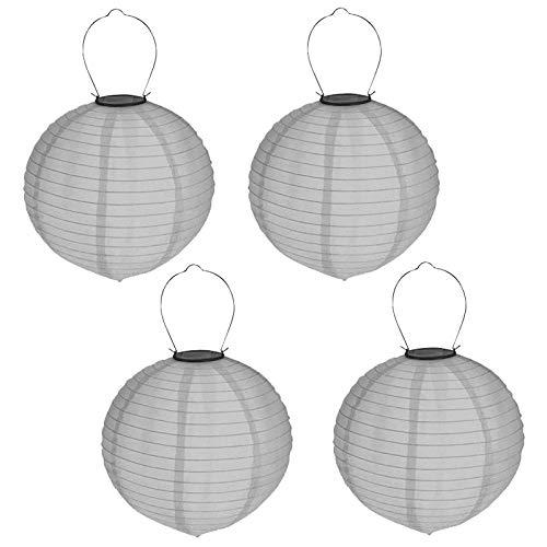 4er Set Solar LED Lampion Party Garten Laterne ø 30cm Grau Deko Lampenschirm Lampe Kugel Gartenlampion