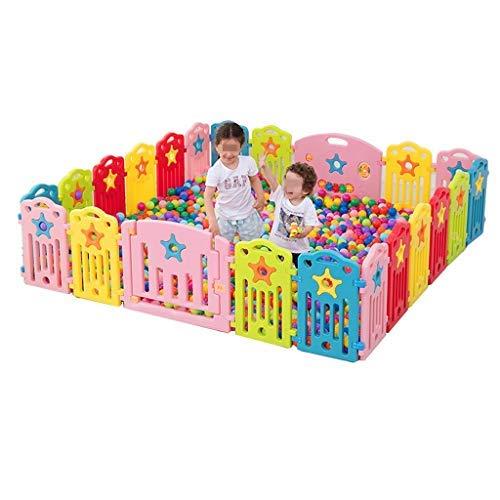 Park van 'Baby Park voor kinderen en veilige speeltuin met plastic paneel buiten en binnen afneembare hek voor draagbaar, gratis staande, kleurrijke, 3 maten (kleur: A) C