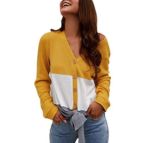 Tunika für Damen, lockeres Sweatshirt, Blusen, Krawatte, Knoten, Knopfleiste Gr. XL, gelb