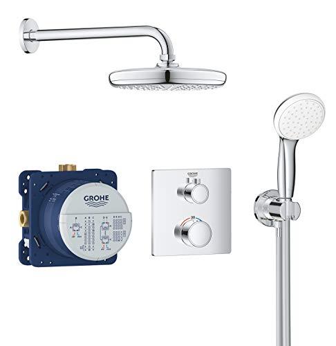 Grohe Bundle Grohtherm - Sistema de ducha 2 cabezales - con ducha mural 210 y set teleducha, Cromo, Válvulas rotativas, 210 mm (Ref.34729000)