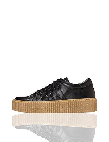 find. Plateau Schuhe Damen mit gerippter Plateausohle, Riemchendetails und Sneaker-Design, Schwarz (Black), 40 EU