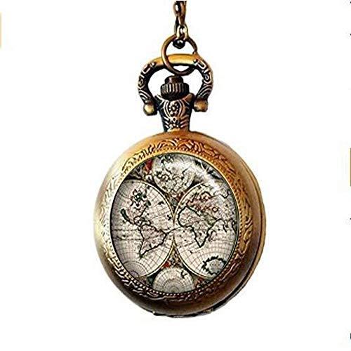 orologio da tasca e catena, orologio da tasca e catena, collana orologio da tasca mappa del mondo antico, ciondolo orologio cartografia antica mappa del mondo ciondolo orologio mappa antica orologi