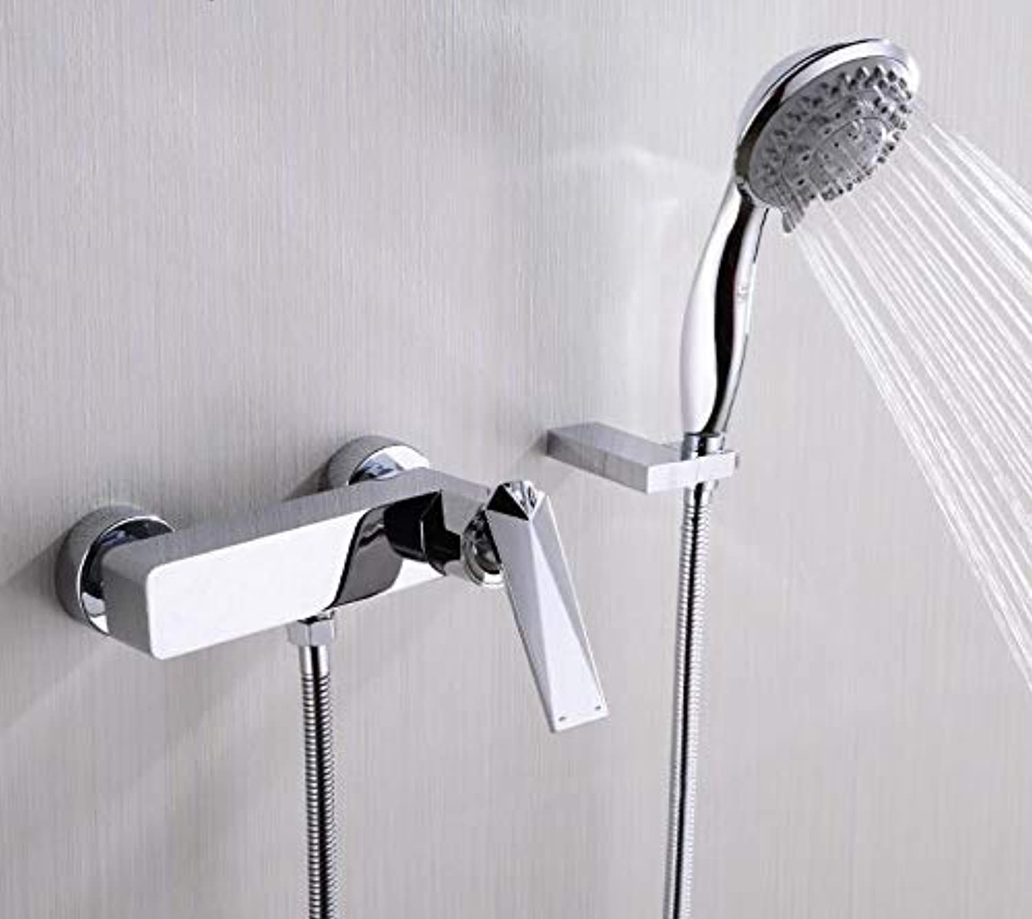 Decorry All Copper Hot and Cold Diamond Surface Mounted Bathtub Faucet Shower Mixing Valve Faucet