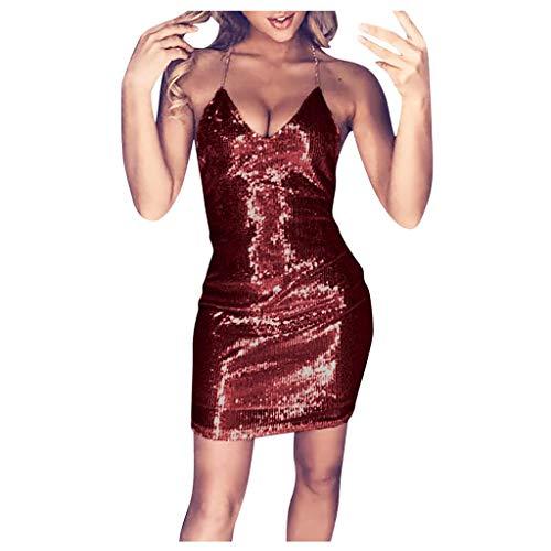 SHOBDW 2020 Vestidos de Fiesta Mujer Cortos Lentejuelas Club Vestido Mujer Sin Mangas Cuello en V Slim Fit Sexy Mini Vestidos Fiesta Mujer Cortos Ajustados Tallas Grandes S-5XL(Vino,5XL)