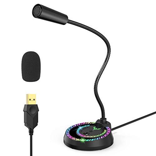 Blade Hawks USB Micrófono, Micrófono para Juegos de PC, Micrófono de Condensador Omnidireccional RGB con Cancelación de Ruido para Gamer Xbox One PS4, Computadora Portátil Mac y Otros