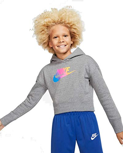Nike Kinder FF Crop Sweatshirt, Carbon Heather/White, M