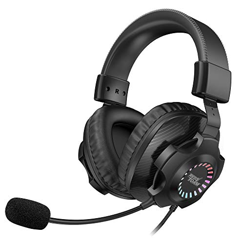 REDSTORM USB Headset für PS4/ PS5/ PC, Gaming Headset Kopfhörer mit Abnehmbares Noise Cancelling Mikrofon, Virtual 7.1 Surround Sound, RGB LED Licht