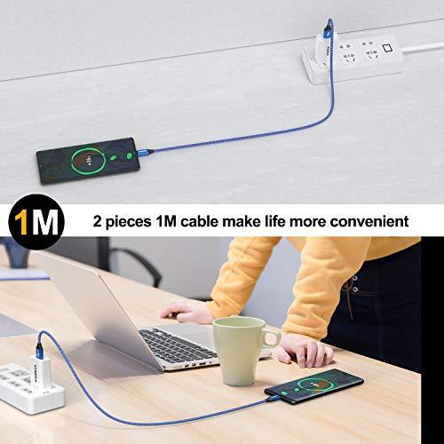 NIBIKA Micro USB Kabel, [2Stück 1M] Nylon geflecht Android Schnellladekabel Micro USB Ladekabel für Samsung Galaxy S7/ S6 / J7/ Note 5,Sony, Huawei, Nexus,Motorola