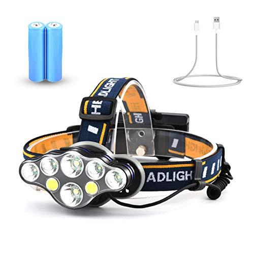 Linterna frontal, faros USB recargables, IPX4, linterna frontal de 8 LED a prueba de agua, linterna frontal ajustable de 8 modos para acampar, escalar, pescar, montar de noche, correr