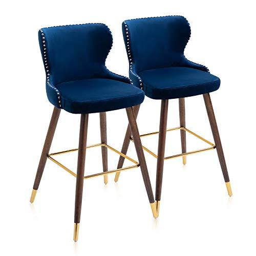 YAMASORO Juego de 2 taburetes de Bar, taburetes para Cocina casera, con Respaldo de diseño de Remaches metálicos, Patas de Madera de Caucho con Tubo Dorado, Azul