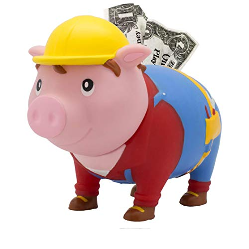 LILALU Spardose BIGGYS Handwerker, Sparschwein Kopf drehbar Sparbox Sparbüchse Münzeinwurf Piggy Bank Tresor Kinder