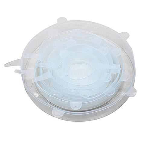 6 tapas elásticas de silicona, reutilizables, herméticas, para alimentos, para mantener el recipiente de sellado fresco, tapa elástica, utensilios de cocina, color blanco