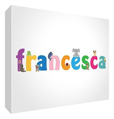 Little Helper LHV-FRANCESCA-A5BLK-15IT Pannello Decorativo Neonato/Battesimo Idea Regalo, Disegno Personalizzabile con Nome da Ragazza Francesca, Multicolore, 14.8 x 21 x 2 cm