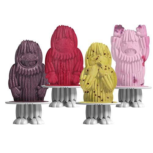 BSTQC Moldes de silicona de 4 cavidades con varillas reutilizables moldes de hielo flexibles para congelador, suministros de cocina