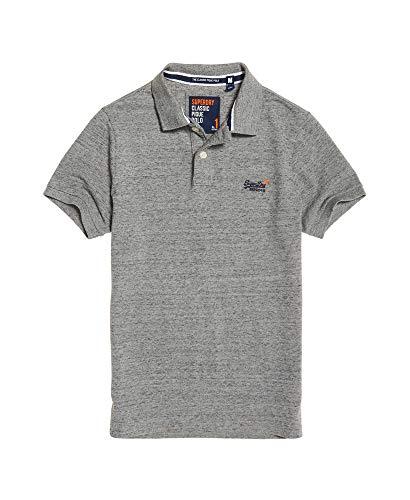 Superdry Herren Classic Pique S/S Polo Poloshirt, Grau (Flint Steel Grit A3Z), Large