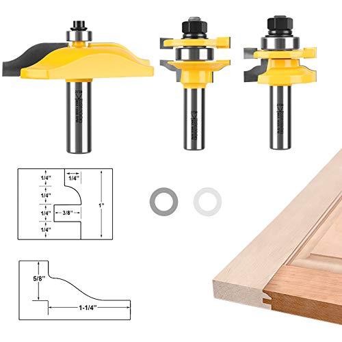 Router Bit Set Cabinet routeur Panneau sur/élev/é en forme de T en bois Fraise Portes Tongue Groove Router pour le travail du bois 3 Packs