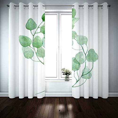 Kihomedy 1 par de cortinas de baño, sencillas y modernas, estilo nórdico, color blanco y verde, cortinas estampadas, 214 x 160 cm (ancho x alto)
