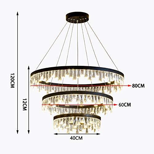 Aks Yue LED Moderne Kristall-3-Schicht-Runde Kronleuchter, Höhenverstellbarkeit/Aluminium-Lampen-Körper geeignet für Wohnzimmer Schlafzimmer Arbeitszimmer 110V ~ 240V