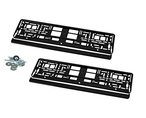 2 x License Plate Holders KHP_1 Chrome Black High Gloss Piano Lacquer Black with Mounting Screws