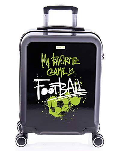 imome Cool Maleta de Cabina Football 55x40x20 cm   Equipaje de Mano, Trolley de Viaje Ryanair, Easyjet   Maleta de Viaje Negra Rígida Divertida Deportes Fútbol Deportes Infantil Juvenil