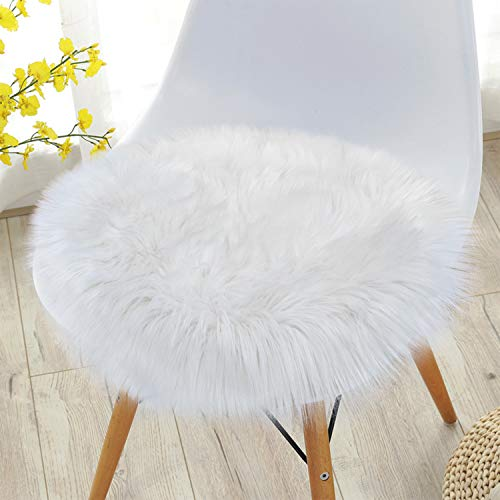 Noahas Faux Fur Sheepskin Silky Seat Cushion, Home Decor Long Wool Area Rugs Carpet, Soft Fluffy Plush Chair Seat Pads Universal Fit Home Office Restaurant Chair, 1.5ft White