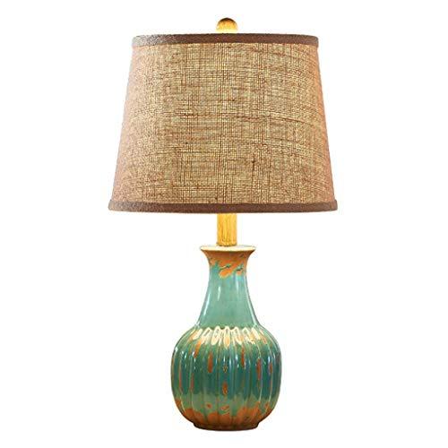 OUHUI Lámpara de Mesa Inicio Experience- American Retro Decoración Antigua de Cerámica E27 Iluminación (Color: Rojo) lámpara de mesa de carga Beige/Azul