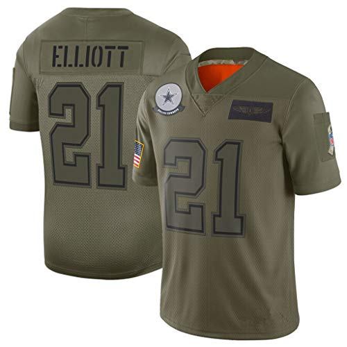 cjbaok T-Shirts NFL Fußball Jersey Dallas Cowboys 19# 21# 54# 4# 55# Jersey Kurzarm Top (Grün),Green-21,L