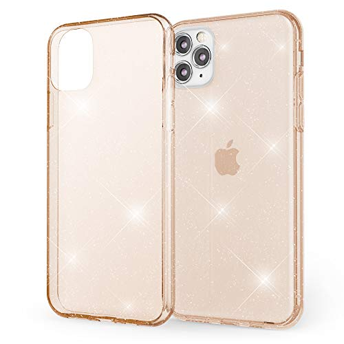 NALIA Glitzer Hülle kompatibel mit iPhone 11 Pro Max, Ultra Slim Handyhülle Silikon Glitter Case Cover Durchsichtig, Handy-Tasche Schutzhülle Transparent Phone Etui Bumper Schale, Farbe:Gold