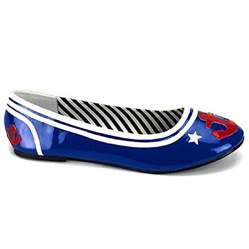 Lack-Slipper im Seemanns-Look - Funtasma Sailor-14 Farbe Navyblue/Weiss Größe: 37