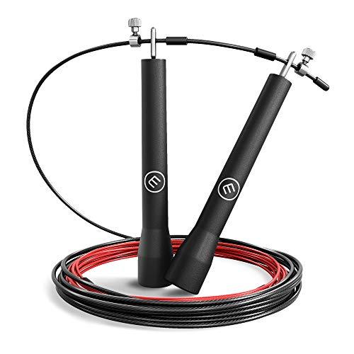 BeMaxx Comba Speed Rope II Fitness + guía de Entrenamiento & Cable Extra | Cuerda de Saltar rápida: Ultraligero y de fácil Ajuste + rodamiento de Bolas | Deporte Profesional, Boxeo, MMA, Cardio