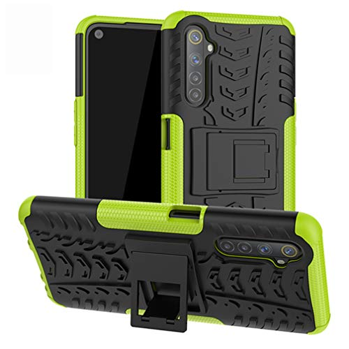 HAOYE Cover for Realme 6 Cover, Protective Case with Holder, Rugged PC Back Panel Anti-Scratch + Shockproof TPU Dual Layer Armor Hybrid Case. Green