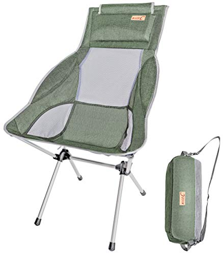Backpacking Compact /& Heavy Duty Outdoor Picnic Travel Camping BBQ Festival with Carry Bag Beach with Headrest NiceC Ultralight High Back Folding Camping Chair Outdoor