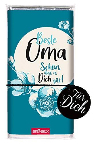 STEINBECK Schokolade Beste Oma Geburt Geburtstag Weihnachten Tafel mit Botschaft Adventskalender Befüllung Wichtelgeschenk