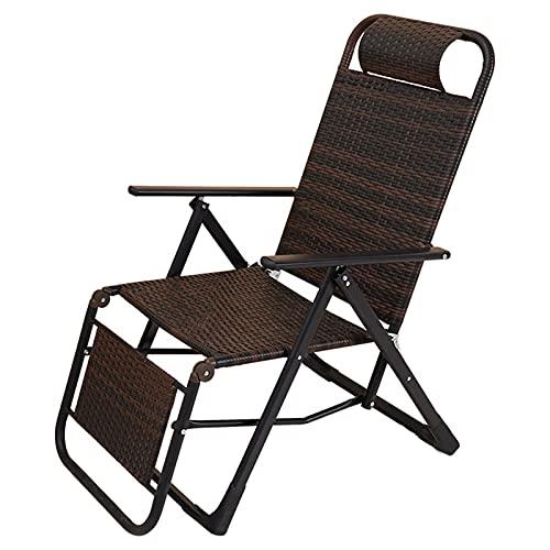 LLMY liegestuhl Schwerelosigkeitssessel, Klappstuhl Aus Rattan, 9 Gangeinstellung, 4 Ecken rutschfest, Belastbar 250kg(Color:Style 1)