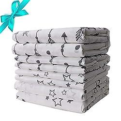 Bambino Copertine Avvolgenti Bambù Unisex Swaddle Wrap Morbido setoso Copri passeggino grande Coperte per dormire per Baby Shower Gift 120 * 120cm, 73 * 73cm, 4 pezzi, Lammcou Baby Swaddle Blankets