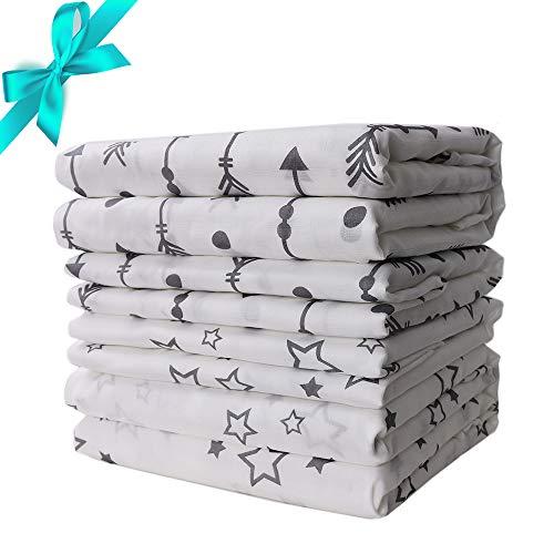 Bebé Mantas Eenvolventes Muselina de bambú Envoltura de pañales Funda para cochecito Dormir recibiendo mantas120*120cm, 73*73cm, 4pack, Baby Swaddle Blanktes