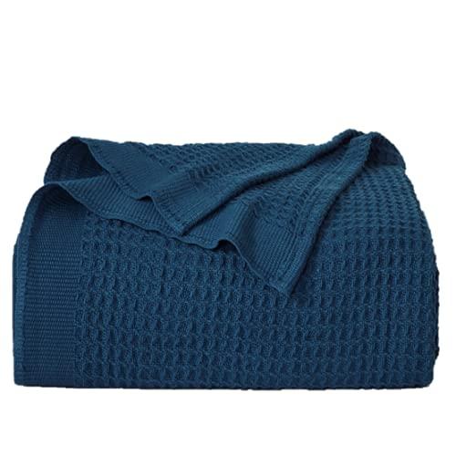 BEDSURE Baumwolle Decke Sommer Tagesdecke– dünne Sommerdecke leichte Kuscheldecke, Universale Baumwolldecke Sofadecke Couchdecke Blau 150x200 cm