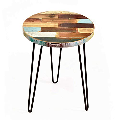 WELLAND Side Table Reclaimed Wood, Round Hairpin Leg End Table, Night Stand, Recycled Boat Wood, 20'...
