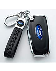 Genuine Leather Car Key Chain Suit for Ford Explorer F150 Mustang Focus Edge Raptor Fusion Power stroke Keychain Keyring with Logo(Black)