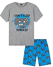 CityComfort Pijama Niño, Pijamas Niños Cortos de Videojuegos, Conjunto Camiseta y Pantalon Corto, Regalos para Niños y Adolescentes Edad 5-14 Años (Azul/Gris Marl, 13-14 Años, 13_Years)