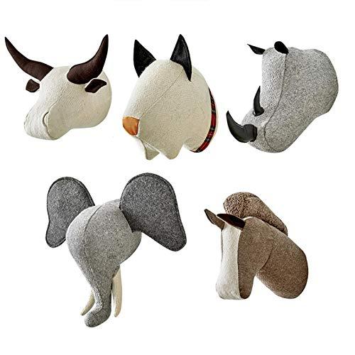 Hualieli Adorno de Cabeza de Animal Colgante de Pared Cabeza de Animal de Peluche Decoración de la habitación de los niños